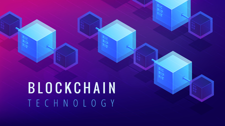 Isometric blockchain technology landing page concept. Blockchain finance, stock exchange and global cryptocurrency mining illustration on ultraviolet background. Vector 3d isometric illustration.
