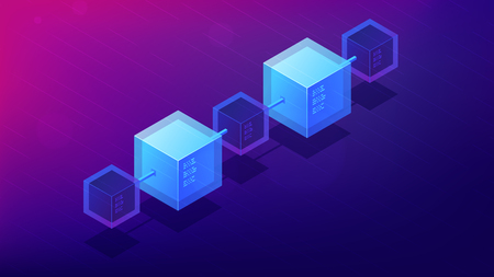 Isometric blockchain network architecture concept. Computer network, global decentralized system of data transfer illustration on ultra violet background. Vector 3d isometric illustration. Illustration