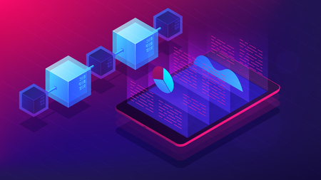 Isometric blockchain white paper and ICO analysis concept. ICO analysis framework, global cryptocurrency market illustration on ultra violet background. Vector 3d isometric illustration. Illustration
