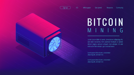 Isometric bitcoin mining landing page concept. Mining crypto currency, video card server farm, data processing unit equipment on ultra violet background. Vector 3d isometric illustration. Illustration