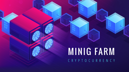 Isometric mining farm landing page concept. GPU mining farm, cryptocurrency mining concept. Blockchain server network on ultra violet background. Vector 3d isometric illustration. Illustration