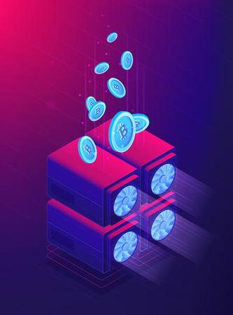 Isometric cloud mining concept. Bitcoins encrypted with computer processing units in cloud mining chain design. Ultra violet background. Vector 3d isometric illustration. Illustration