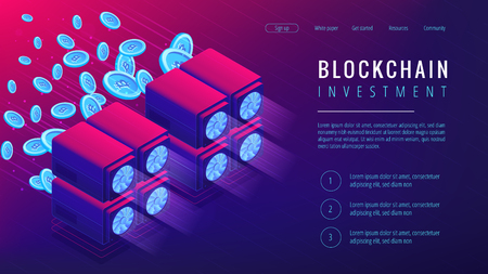 Isometric blockchain investment landing page concept. Dedicated servers with mined coins as global cryptocurrency economy in ultra violet. Cryptocurrency investment. Vector 3d isometric illustration.