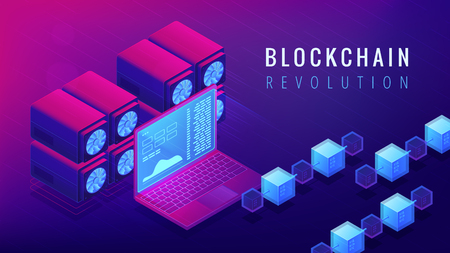 Isometric blockchain revolution concept. Global business and economy changes, cryptocurrency stock exchange and money transfer illustration on ultraviolet background. Vector 3d isometric illustration. Illustration