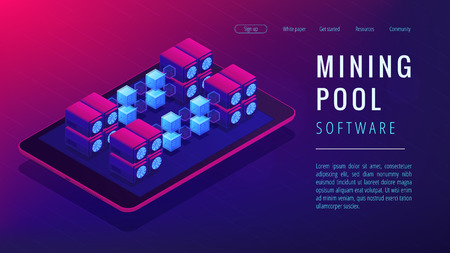 Isometric mining pool landing page concept. Joint group of cryptocurrency miners, networking, computational resources combining on ultra violet background. Vector 3d isometric illustration.