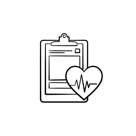 Medical record with heart beat rate and health tests hand drawn outline doodle icon. Hospital concept vector sketch illustration for print, web, mobile and infographics isolated on white background.