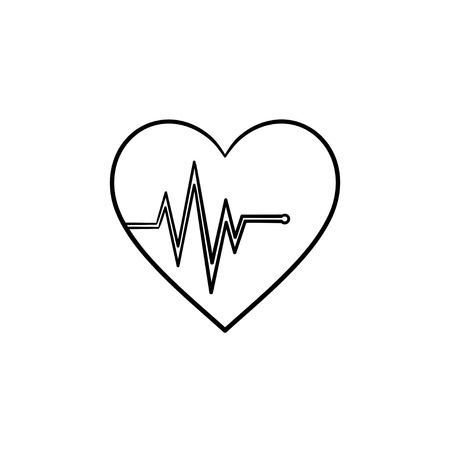 Heart beat rate hand drawn outline doodle icon. Pulse as health, cardiology and heart rhythm concept vector sketch illustration for print, web, mobile and infographics isolated on white background.