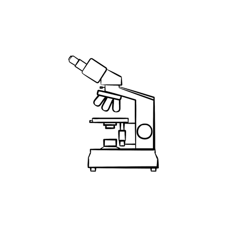 Microscope hand drawn outline doodle icon. Laboratory microscope as biology and chemistry concept vector sketch illustration for print, web, mobile and infographics isolated on white background. Illustration