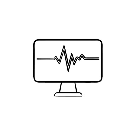 ECG monitor with heart beat hand drawn outline doodle icon. Cardiogram line on display as life concept vector sketch illustration for print, web, mobile and infographics isolated on white background.