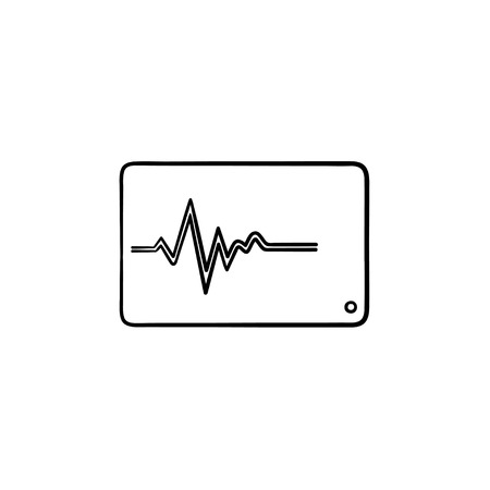 Health monitor hand drawn outline doodle icon. Heart digital monitor as heart beat testing concept vector sketch illustration for print, web, mobile and infographics isolated on white background. Illustration