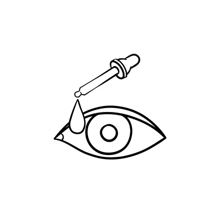 Pipette and eye hand drawn outline doodle icon. Eye iris infection and cure concept vector sketch illustration for print, web, mobile and infographics on white