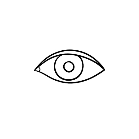 An eye hand drawn outline doodle icon. Eye iris and humans sight concept vector sketch illustration for print, web, mobile and infographics on white background. Illustration