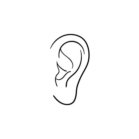 Human ear hand drawn outline doodle icon. Human ear as a concept of listening, hearing and music vector sketch illustration for print, web, mobile and infographics isolated on white background. Illustration