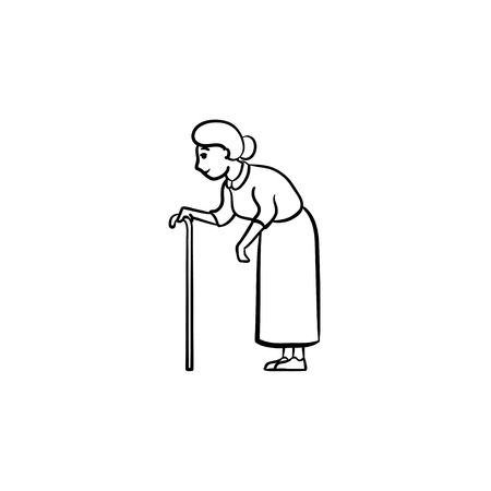 An old woman with a cane hand drawn outline doodle icon. Blind female with walking stick in old age vector sketch illustration for print, web, mobile and infographics on white background.