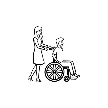 Disable person in wheelchair hand drawn outline doodle icon. Volunteer, nurse, rehabilitation concept vector sketch illustration for print, web, mobile and infographics isolated on white background. Illustration