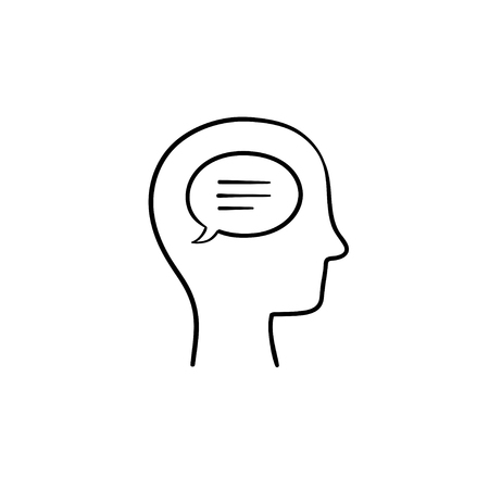 Think bubble in humans head hand drawn outline doodle icon. Humans mind and brain, idea vector sketch illustration for print, web, mobile and infographics on white background.