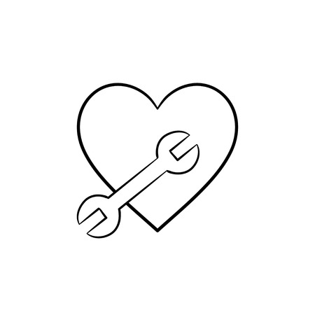A heart shape with a wrench hand drawn outline doodle icon. Spanner and heart as fix and repair concept vector sketch illustration for print, web, mobile and infographics isolated on white background. Illustration