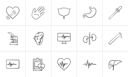 Medicine hand drawn outline doodle icon set for print, web, mobile and infographics. Healthcare, hospital, paramedic and first aid vector sketch illustration set isolated on white background. Ilustrace