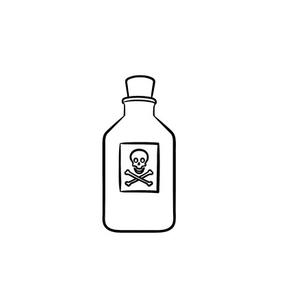 Poison hand drawn outline doodle icon. Hazardous poison bottle with dangerous liquid with crossbones label. Vector sketch illustration for print, web, mobile and infographics on white background.