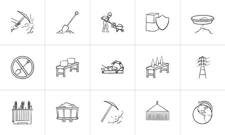 Industry hand drawn outline doodle icon set for print, web, mobile and infographics. Mining, shipping, electricity, transport and logistics vector sketch illustration set isolated on white background.