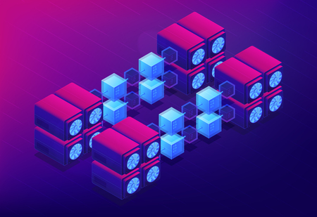 Isometric cloud mining concept. Dedicated cloud data servers for blockchain cryptocurrencies mining, computer network on ultraviolet background. Vector 3d isometric illustration. Illustration