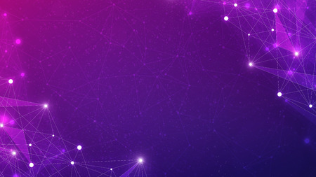 Blockchain technology futuristic hud ultraviolet background with blockchain polygon peer to peer network. Global cryptocurrency block chain business banner concept on violet background. Stock Photo
