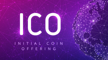 ICO initial coin offering futuristic ultraviolet hud background with world map and blockchain peer to peer network. Global cryptocurrency ICO coin sale event - blockchain business banner concept.
