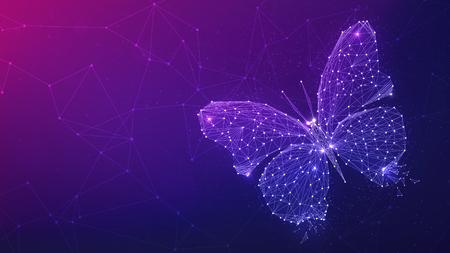 Mariposa del polígono en el fondo del hud de la red de tecnología blockchain. Mariposa geométrica poligonal abstracta que consiste en puntos, líneas y formas. Estructura de tecnología de estructura metálica. Diseño de baja poli. Foto de archivo