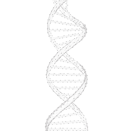 DNA chain spiral chain of nucleotides. Health, medicine, chemistry, biotechnology, biological data transfer and DNA molecules structure concept. Low poly design.