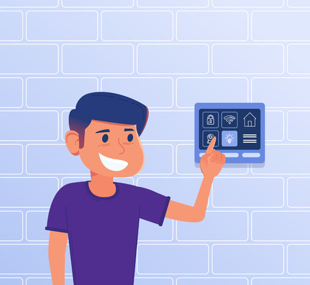 A kid using smart home control panel on house wall. A tablet with smart home controllers and settings interface. Smart house, internet of things, friendly soft concept. Vector flat design illustration Иллюстрация