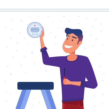 A man sets up smart smoke detection system on the wall. Smoke, CO, gas, fire and carbon monoxide alarm as smart house and internet of things concept. Vector flat design illustration. Banco de Imagens