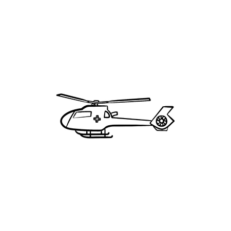 Medical helicopter hand drawn outline doodle icon. Emergency helicopter as immediate medical service concept. Vector sketch illustration for print, web and infographics on white background.