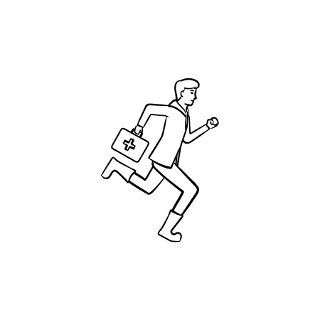 Paramedic running with first aid kit in arm hand drawn outline doodle icon. Emergency medical service concept. Vector sketch illustration for print, web, mobile and infographics on white background.