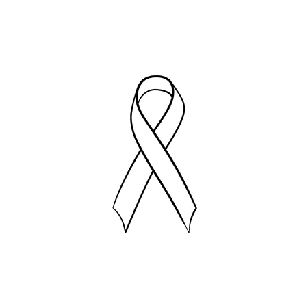 Awareness ribbon hand drawn outline doodle icon. Breast cancer AIDS ribbon. Support and solidarity concept. Vector sketch illustration for print, web and infographics isolated on white background.