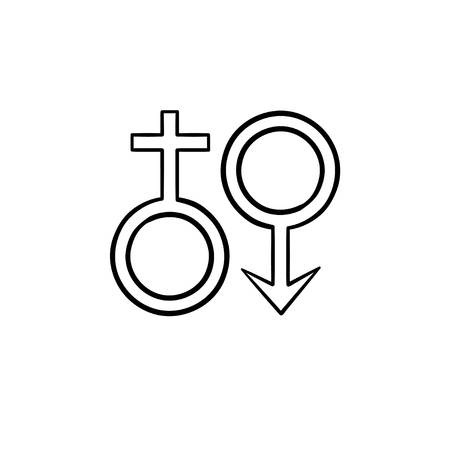 Female and male genger symbols hand drawn outline doodle icon. Sex and gender diversity concept vector sketch illustration for print, web, mobile and infographics isolated on white background.