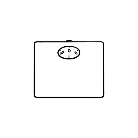 Bathroom scales hand drawn outline doodle icon. Weight control as concept of slimming and weight loss vector sketch illustration for print, web, mobile and infographics isolated on white background.