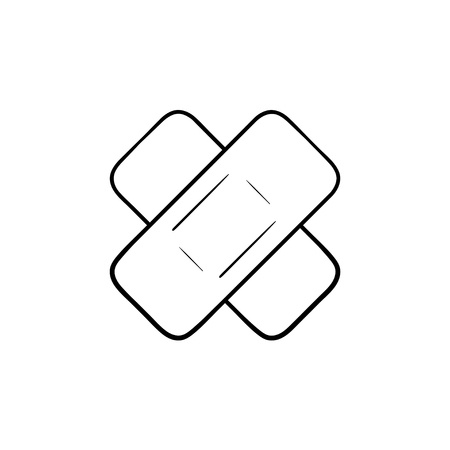 Adhesive plaster hand drawn outline doodle icon. Adhesive bandage as injury and first aid concept vector sketch illustration for print, web, mobile and infographics isolated on white background. Foto de archivo - 103096675