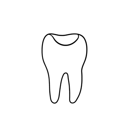 Tooth cavity hand drawn outline doodle icon. Dentistry, hygiene and tooth decay treatment medical concept. Vector sketch illustration for print, web, mobile and infographics on white background. Illustration