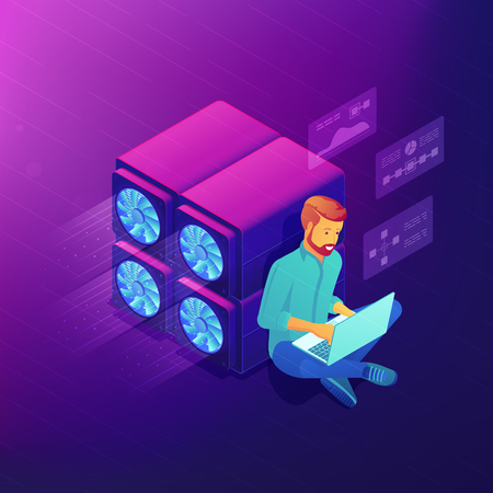 Isometric blockchain technology development concept. Blockchain developer sitting near GPU mining farm and fixing cryptocurrency code. Vector 3D isometric illustration on ultraviolet background. Illustration