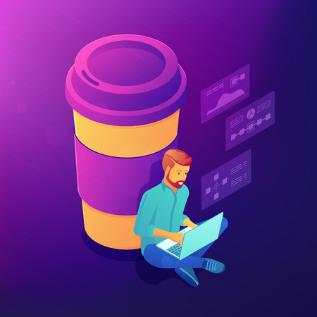 Isometric freelance designer and developer with a cup of coffee. Coffee break, labour productivity, office life, chat, networking vector 3D isometric illustration on ultraviolet background. Illustration