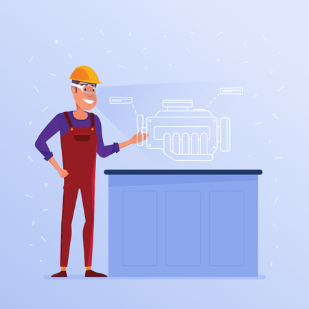 A caucasian white man in AR glasses with virtual hud interface elements symbolizing progressive engineering. Concept of modern industry operated by virtual reality tools. Vector flat design illustration. Illusztráció