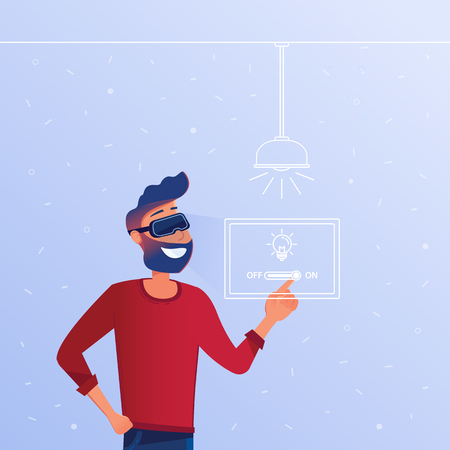 A white man in VR headset with virtual hud interface elements symbolizing virtual reality smart home control. Concept of modern housing operated by virtual reality tools. Vector flat illustration. Illustration