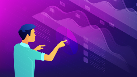Isometric big data analysis, feedback and research concept. A man operating visual data analysis statistics pie charts and graphics in virtual interface in violet color. Vector ultraviolet background.