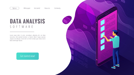 Isometric data analysis software landing page concept. A business analyst and charts graphics of data analytics statistics on smartphone screen in violet color. Vector ultraviolet background