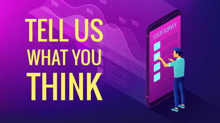 Isometric big data analysis and feedback concept. A man in front of mobile screen with 3d visual data analysis elements and title tell us what you think in violet color. Vector ultraviolet background. Vettoriali