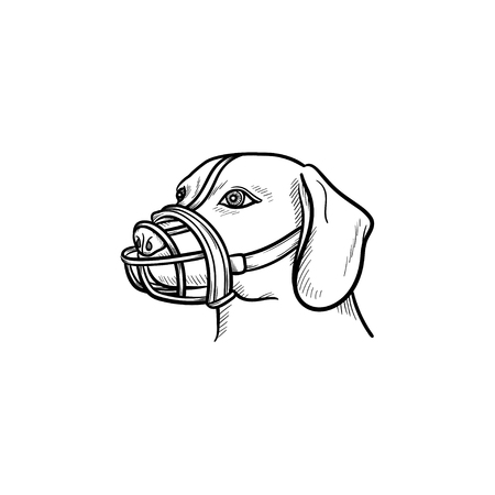 Dog with a muzzle hand drawn outline doodle icon. Pets in the city life and safety dog walking concept. Vector sketch illustration for print, web, mobile and infographics on white background. Reklamní fotografie - 103628825
