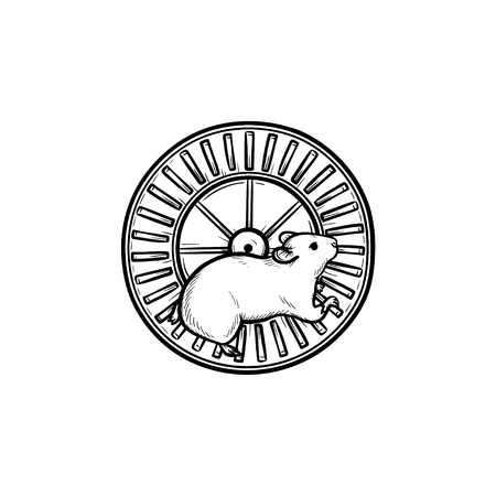 Hamster wheel hand drawn outline doodle icon. Running wheel as exercise devices and other rodents concept. Vector sketch illustration for print, web, mobile and infographics on white background.