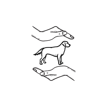 Helping pet hand drawn outline doodle icon. Dog with human arms around as pets carrying concept. Vector sketch illustration for print, web, mobile and infographics on white background.