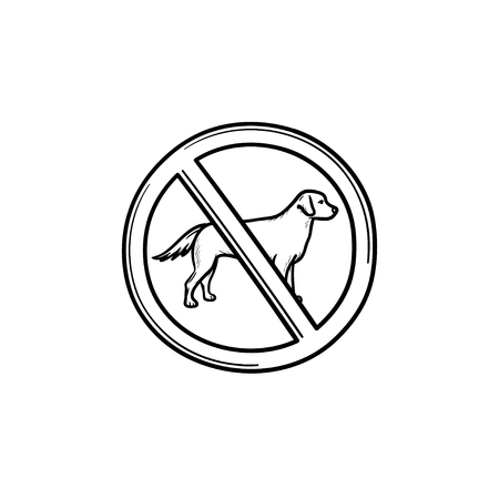 No dog allowed sign hand drawn outline doodle icon. Dog with stop sign around as prohibiting dog enter concept. Vector sketch illustration for print, web, mobile and infographics on white background.