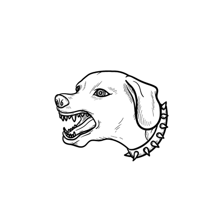 Angry dog with teeth hand drawn outline doodle icon. Vicious barking dog as security animal and aggression concept. Vector sketch illustration for print, mobile and infographics on white background.